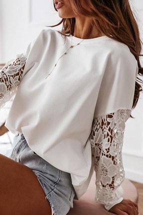 BLACK&GRACE Kadın Beyaz Dantel Detaylı 2 Iplik Manşetli Bluz 1