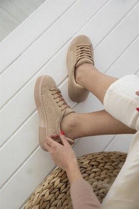 Straswans Kadın Nude Sweet Yılan Deri Spor Ayakkabı 2