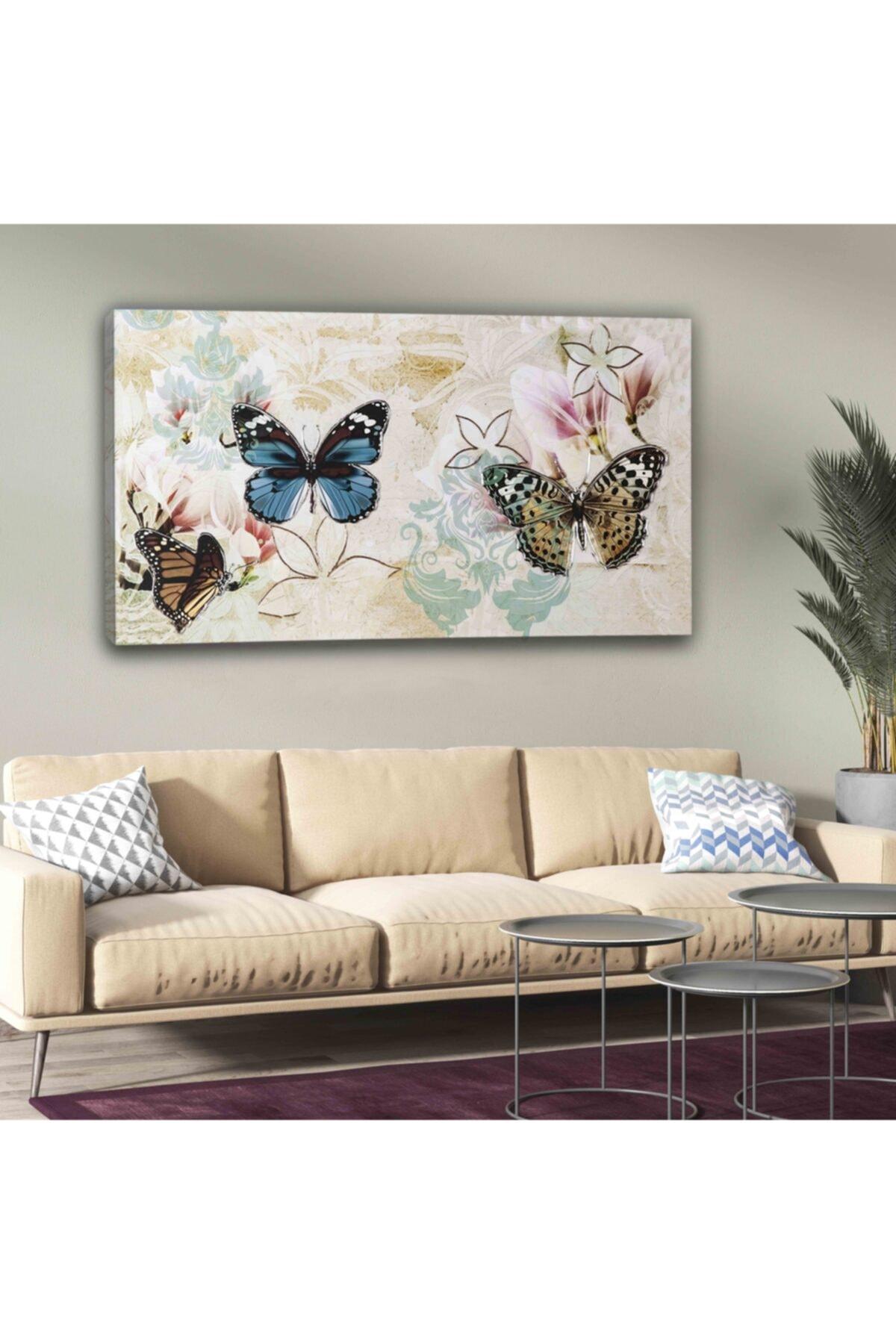 hanhomeart Kelebek Dekor Kanvas Tuval Tablo