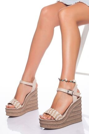 derithy Kadın Ten Süet Dolgu Topuklu Ayakkabı 0