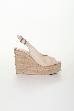 derithy Kadın Bej Süet Dolgu Topuklu Ayakkabı 1