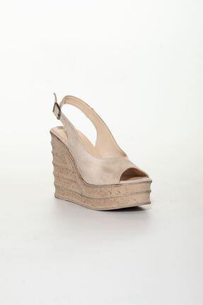 derithy Kadın Bej Süet Dolgu Topuklu Ayakkabı 2