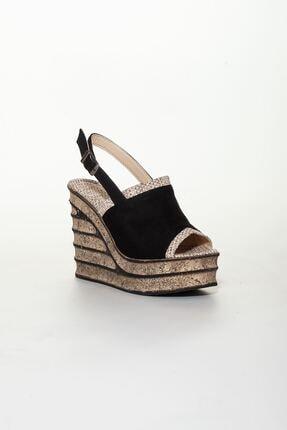 derithy Kadın Siyah Süet Dolgu Topuklu Ayakkabı 2