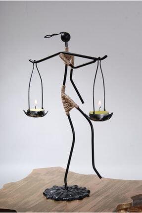 Le ante Siyah Dekoratif Mumluk- Kadın Figürlü Mumluk-tealight (Mum) Dahil 2