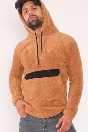 sedtu Unisex Kahverengi Kanguru Cepli Kapüşonlu Peluş Sweatshirt 0