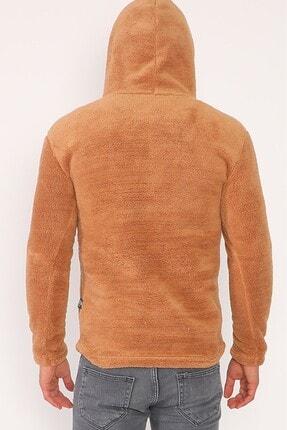sedtu Unisex Kahverengi Kanguru Cepli Kapüşonlu Peluş Sweatshirt 2
