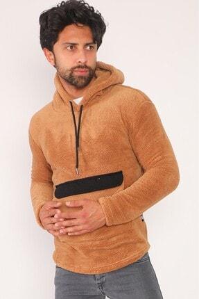 sedtu Unisex Kahverengi Kanguru Cepli Kapüşonlu Peluş Sweatshirt 3
