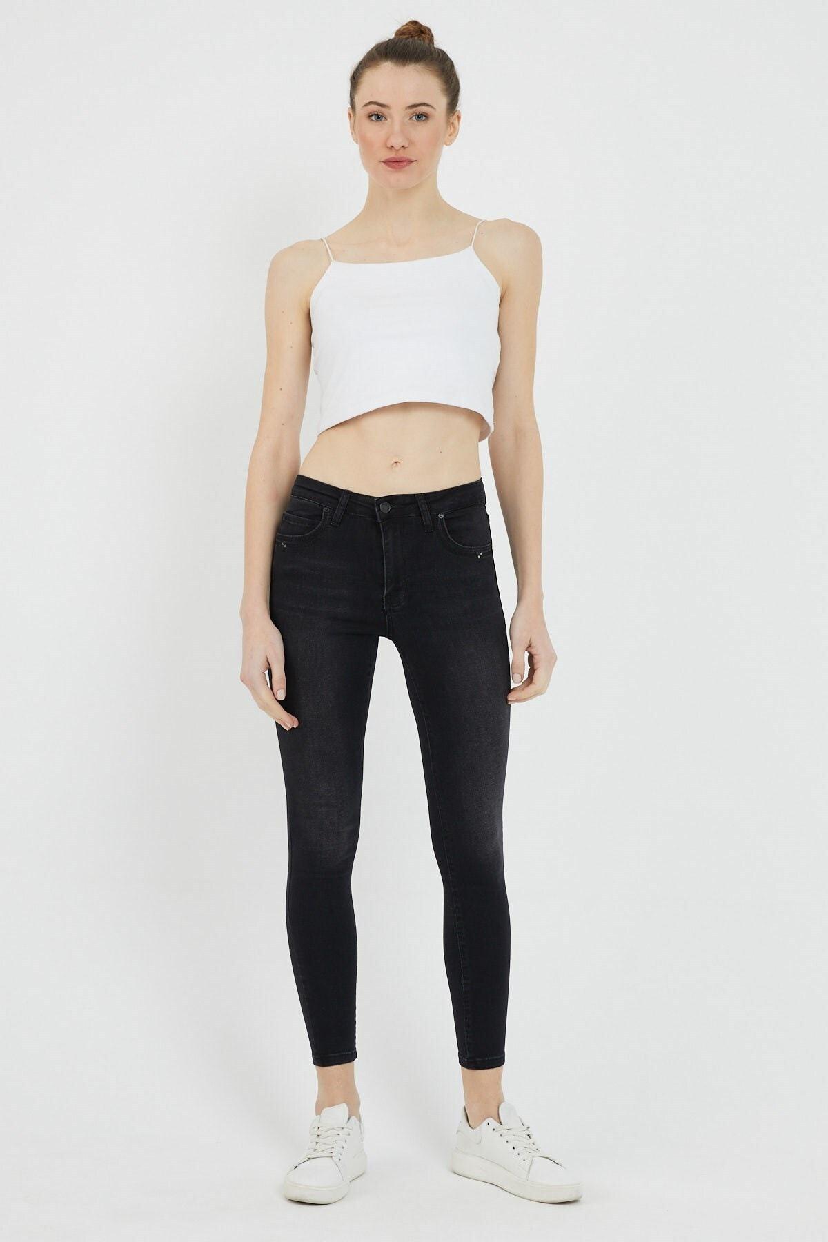 Kadın Siyah Gılda Fashıon Denim Pantolon