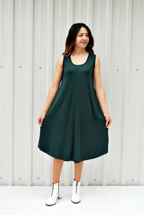 MGS LİFE Kadın Petrol Yeşili Kolsuz Düz Renk Çan Etek Elbise 0