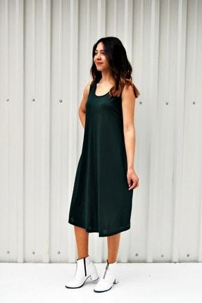 MGS LİFE Kadın Petrol Yeşili Kolsuz Düz Renk Çan Etek Elbise 1