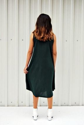 MGS LİFE Kadın Petrol Yeşili Kolsuz Düz Renk Çan Etek Elbise 3