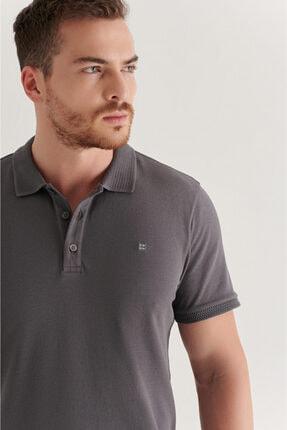 Avva Erkek Antrasit Polo Yaka Düz T-shirt A11b1146 1