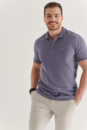 Avva Erkek Lila Polo Yaka Düz T-shirt A11b1146 0