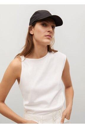 Mango Kadın Beyaz Kolsuz Bluz 0