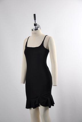 tknfashion Esnek Krep Kumaş Ince Askılı Etek Ucu Volan Detaylı Siyah Abiye Elbise 4