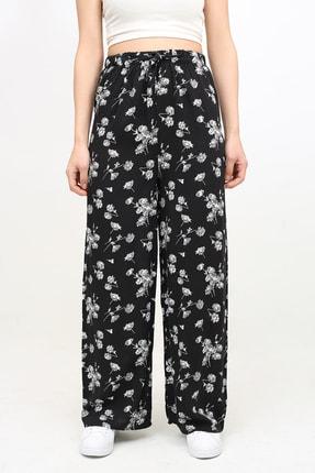 DOĞAN ATEŞ Çok Renkli Çiçek Desenli Beli Lastikli Bol Salaş Pantolon 1