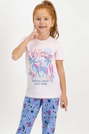 US Polo Assn U.s. Polo Assn Lisanslı Krem Kız Çocuk Pijama Takımı 1