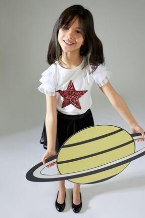 Defacto Kız Çocuk Yıldız Payetli Kısa Kol Tişört 1