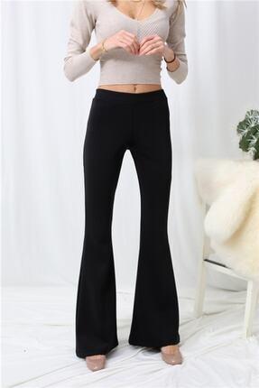 Md1 Collection Kadın Siyah Kompak Penye Bir Beden Inceltici Görünüm Sağlayan Ispanyol Paça Pantolon 1