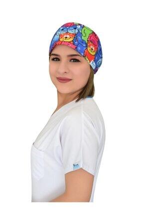 Nur Ortopedi Doktor Hemşire Hastane Aşçı Bonesi Renkli Kediler Desenli 1