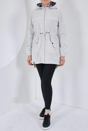 Escetic Kadın Ekru Yağmurluk Ceket 0