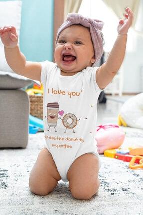 Babydonat Kız Bebek Beyaz I Love You Donat Desenli Kısa Kol Body 2