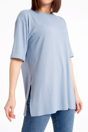 GİYSA Boyfriend Kaşkorse Mavi T-shirt 3683 3