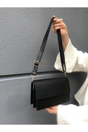 SWAN BOUTIQUE Kadın Siyah Kapaklı Çapraz Askılı Çanta 2