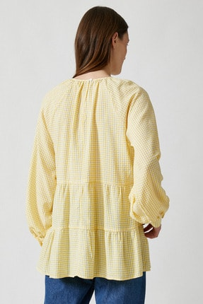 Koton Kadın Sarı Ekoseli Bluz 1YAK68815CW 3