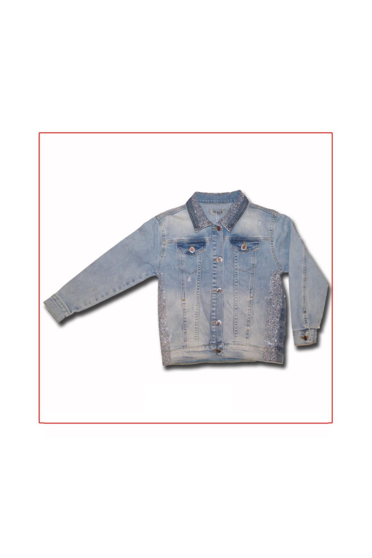 Kız Çocuk Pul Detaylı Jean Ceket