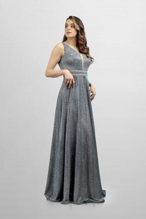 DÜĞÜNÇOKABİYEMYOK Mavi Yansımalı Taş Detaylı Uzun Abiye 0