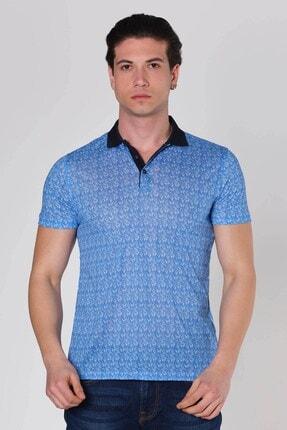 Dijital Baskılı Desenli Polo Yaka T-shirt Bebe Mavi D-1129 resmi