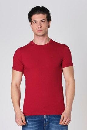 Erkek Sıfır Yaka Likralı Pamuk Bordo T-shirt resmi