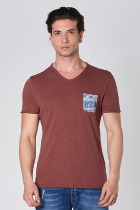 V Yaka Desen Cepli Pamuk T-shirt Kahve Dbk121295 resmi
