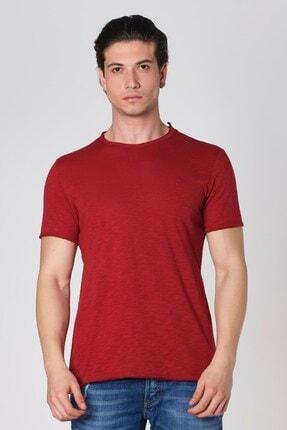 Sıfır Yaka Pis Kesim Filamlı Pamuk T-shirt Bordo Dbk121277 resmi
