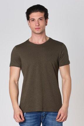 Sıfır Yaka Filamlı Pamuk T-shirt Haki Dbk121290 resmi
