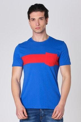 Sıfır Yaka Parçali Cepli Pamuk T-shirt Mavi Dbk1507 resmi