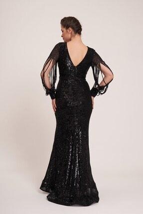 La Vita e Bella Siyah Pul Payet Lazer Kesimli Kol Uzun Abiye Elbise 1