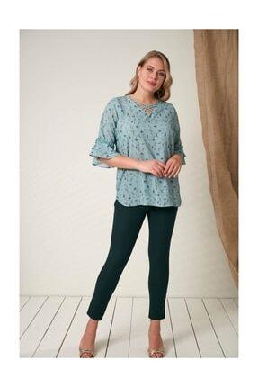 Rmg Kadın Fırfır Detaylı Büyük Beden Çagla Yeşili Bluz 2