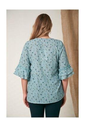 Rmg Kadın Fırfır Detaylı Büyük Beden Çagla Yeşili Bluz 4