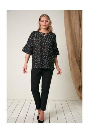 Rmg Kadın Fırfır Detaylı Büyük Beden Siyah Bluz 3