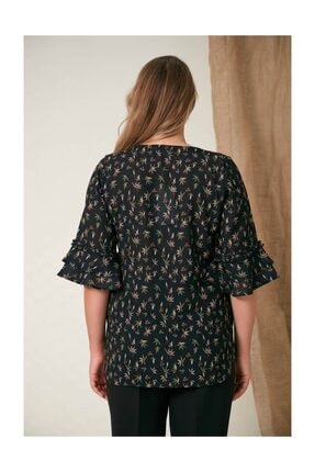 Rmg Kadın Fırfır Detaylı Büyük Beden Siyah Bluz 4