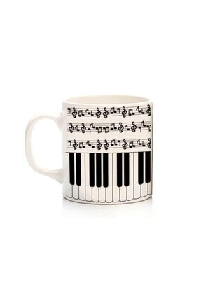 Köstebek Notalı Ve Piyano Desenli Kupa 0
