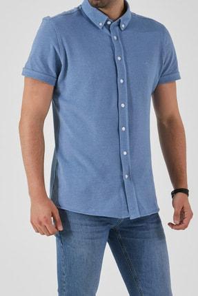 Ltb Erkek  Mavi  Kısa Kol Klasik  Gömlek 012208423760890000 0