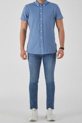 Ltb Erkek  Mavi  Kısa Kol Klasik  Gömlek 012208423760890000 2