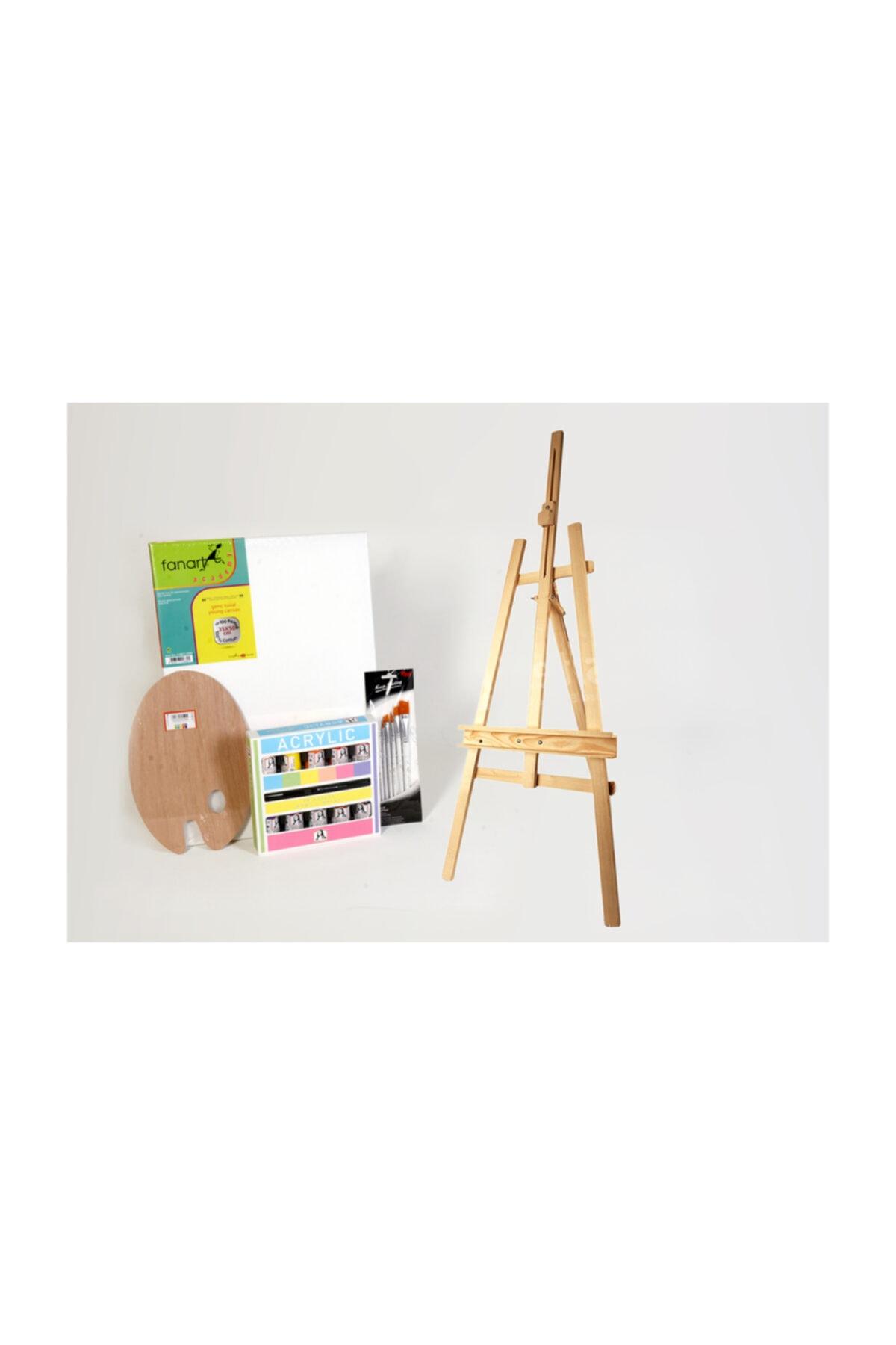 Akrilik Boya Setı Şövalye Rıch Yumusak Fırça Setı Ahşap Palet 35×50 Fanart Tuval Mona Lısa