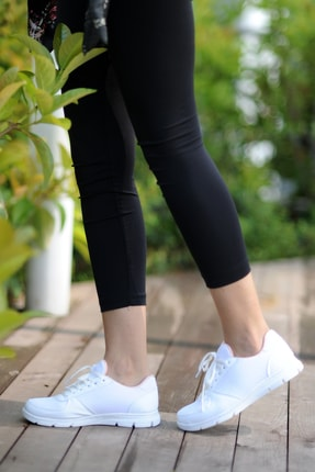 Pembe Potin Kadın Beyaz Ayakkabı 1
