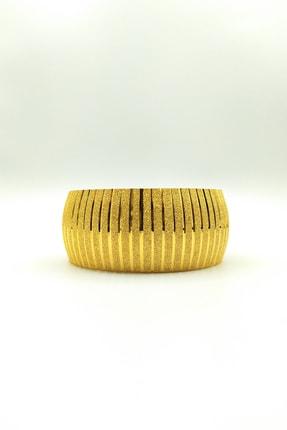 Alzey Gold İmitasyon Altın Kaplama 3cm Çizgi Desen Kadın Bilezik 0