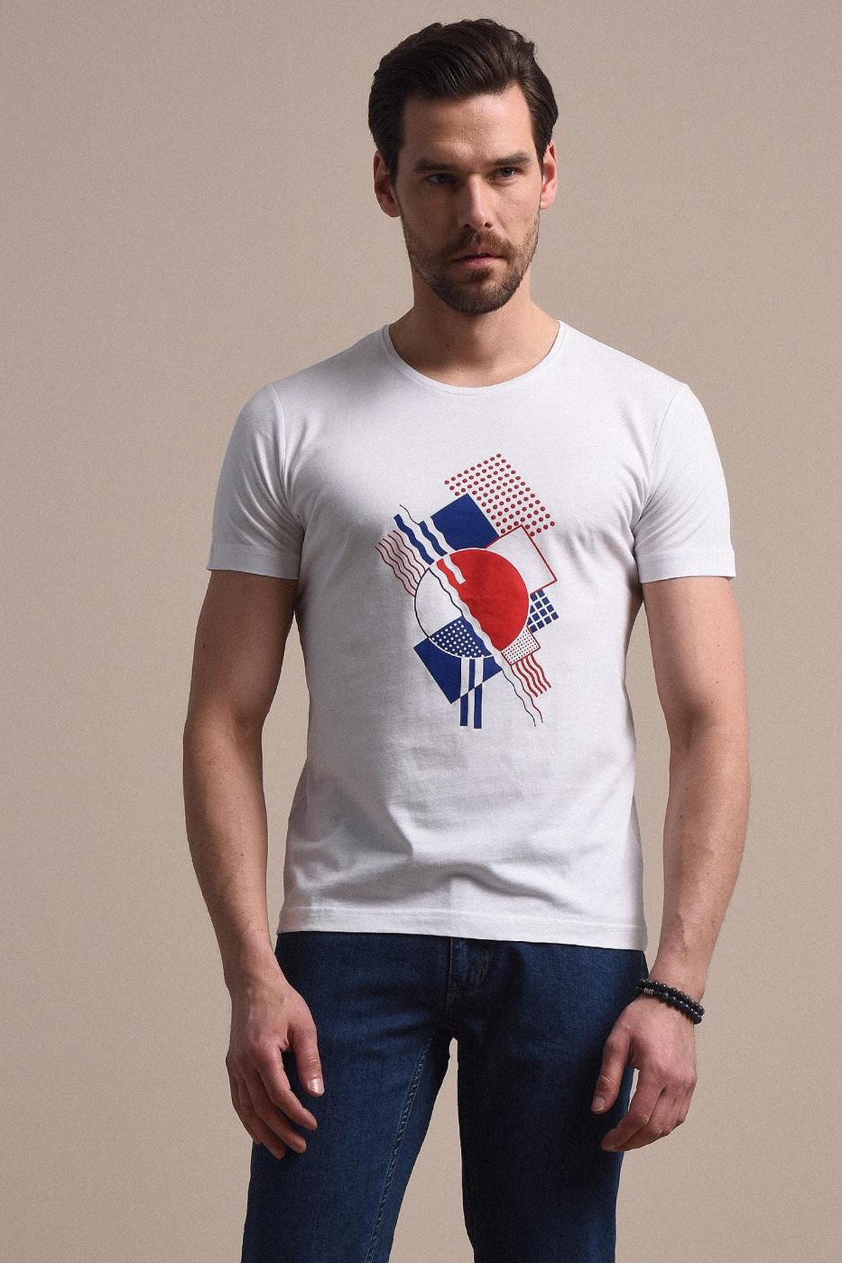 Erkek Beyaz Baskılı Örme T - Shirt KP10120481