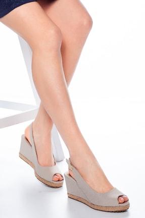 Moda Değirmeni Kadın  Bej Keten Dolgu Topuklu Ayakkabı Md1013-120-0001 0
